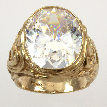9ct gold C.Z. Single stone Ring size I
